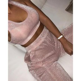 Wholesale KGFIGU Women two piece set top and pants summer piece set women tracksuit matching sets pink womens clothing