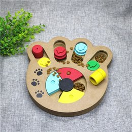 small wooden pots 2019 - Puzzle Interest Pots Dog Bowls Feeder Wooden Environmental Protection Tableware Anti Choking Pet Supplies Educational To
