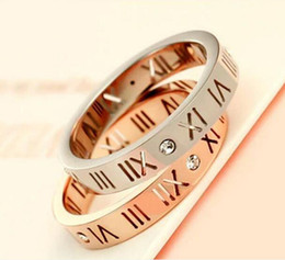 Roman Numerals Ring Wholesale UK - Korean Fashion Ring Version Of 18K Rose Gold Roman Numeral Diamond Ring Men And Women Couple Tail Ring bague Jewelry