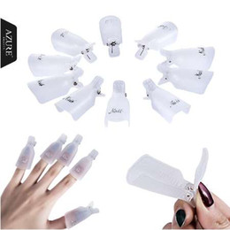 Newest Design 10PCS Plastic Nail Polish Removers Hot Pink Purple White Art Soak Off Cap Clip UV Gel Polish Remover Wrap Tool