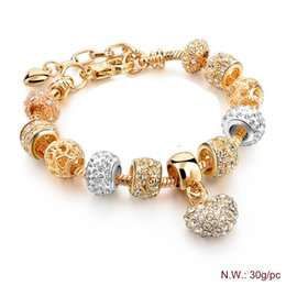 Wholesale Europe fashion rose gold peach heart beads bracelet