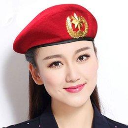 Discount blue felt hat - High Quality Wool Felt Berets Sailors Dance Performance Hat Fans Army Cap Adjustable Trilby Hats for Men Women Unisex