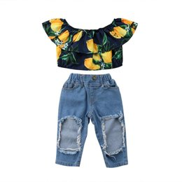 Chinese  Summer Toddler Kids Baby Girl Off shoulder Lemon Print Crop Tops+Hole Denim pant Ripped Jeans 2PCS Outfits Clothing Set manufacturers