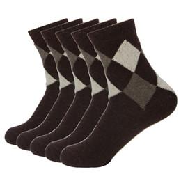 Wools socks online shopping - Rabbit Wool Quality Men Spring Winter Warm Socks Deodorant Breathable Soft New Business Casual Double Rhombus Pattern Meias Sock