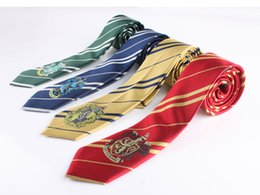 College Colors online shopping - 4 Colors Harry Potter Necktie College Stripes Ties Harry Potter Gryffindor Ties with Badges Slytherin Ravenclaw Hufflepuff Costume Accessory