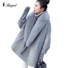 Wholesale women woolen long coat resale online - Elegant Women Winter Wool Coats Fur Collar Plus Size Grey Warm Loose Woolen Coat Fashion Thicken Long Jackets casaco feminino