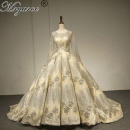381bce5a74a Mryarce Luxury Gold Wedding Dresses 2018 Sparkling Long Sleeve Ball Gown  Dubai Wedding Dress Bling Bling Bridal Gowns