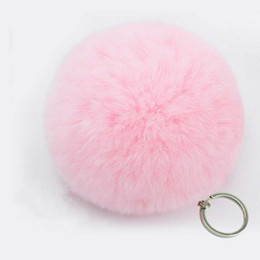 faux fur ball keychain UK - Fashion Artificial faux BIG Fur PomPom keychain leather Bag Ball fake rabbit fur pom pom Lovely Fluffy Key Chain poret key ring