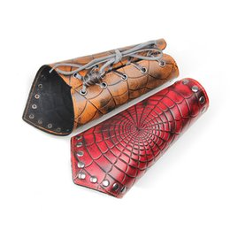 Wholesale Bracers Trend Rock Punk Jewelry Spider Web Cowhide Woven Bracelet COSPLAY Protective Gear Game Around