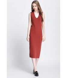 Chinese  new women autumn and winter long knitted dresses slim elastic sexy lady bodycom robe sleeveless sweaters vest package hip dress manufacturers