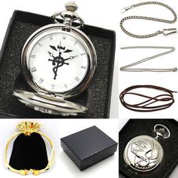 $enCountryForm.capitalKeyWord Australia - Silver Fullmetal Alchemist Pocket Watch Men Vintage Quartz Watches Necklace Chain Bag Box Gift Set P421CKWB