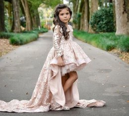 Discount flower child prom dresses - Pink High Low Long Sleeve Flower Girl Dresses V Neck Lace Applique Ruffles Girls Pageant Gowns Children A Line Kids Prom
