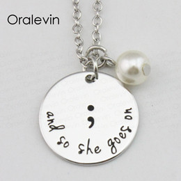 $enCountryForm.capitalKeyWord Australia - MY STORY ISN'T OVER YET Disc Semicolon Necklace Mental Health Awareness Jewelry Christmas Gift for Friend,22MM, 10Pcs lot ,#LN1288