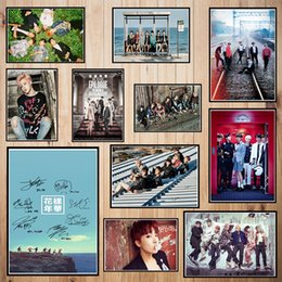 Pink Decorative Paintings Australia - Korean band BTS Coated paper poster Bar Cafe High quality Printing Drawing core Decorative Painting