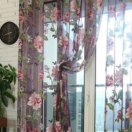 flower ceiling decorations 2019 - Peony Flower Window Curtain For Living Room Bedroom New Decorations Windows Screening Fresh Style Drapes Romantic Style