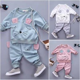 spring cat outfits Australia - Toddler Kids Baby Girl Clothes Cat T-shirt Tops Pants 2PCS Outfits Clothing Set Sport Suit Children Tracksuit