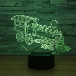 Discount lamp training - Train Engine 3D Optical Illusion Lamp Night Light DC 5V USB Powered AA Battery Wholesale Dropshipping Free Shipping