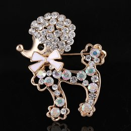 wholesale rhinestone brooches Australia - Animal dog brooch pins cute dogs rhinestone brooch for women gift crystal brooches jewelry