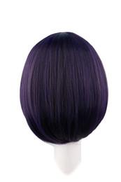 35 Hair UK - black purple QQXCAIW Short Straight Cosplay Black Purple 35 Cm Synthetic Hair s wig