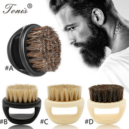 Wholesale Ring Beard Brush Horse Bristle hair head brush Men's beard clean finger Shaving Portable Face Care Beard-care Cleaning brush