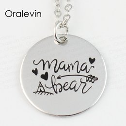 mothers day bears 2020 - whole saleWholesale MAMA BEAR Engraved Disc Pendant Charms Necklace Mother Day Gift Jewelry 10Pcs Lot,#LN141 discount mo