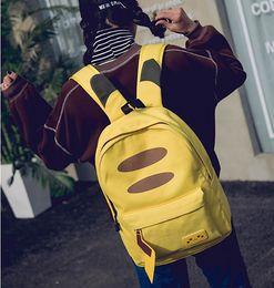 Discount anime laptop - 2017 New Japanese Anime Monster Pikachu Printing Backpack Canvas School Bags Laptop Backpack  Feminina