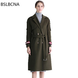 Discount ladies woolen clothes - 2018 Winter European New Double-sided Woolen Coat Women Office Lady Bodycon Belt Cashmere Overcoat Vintage Loose Clothes