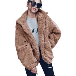 fur UK - Oversized Women Faux Fur Jackets Coats Plus Size Thick Long Parkas Jackets Turn Down Collar Fluffy Outerwear