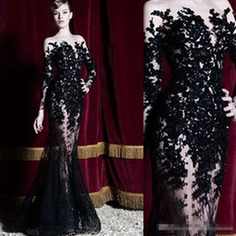 zuhair murad inspired prom dresses Canada - Zuhair Murad Evening Dresses Long Sleeves Black Lace Sheer Mermaid Prom Dresses Party Gowns Long Special Occasion Dubai Arabic Dresses
