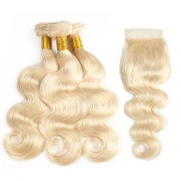 Wholesale Unprocessed Brazilian virgin hair Body Wave bundles with closures Blonde Weaves Bundles Silk Body Wave Bulk Remy Human Hair Extensions