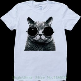M Sunglasses Brands UK - Cat With Sunglasses White , Custom Made T-shirt Brand Cotton Men Clothing Male Slim Fit T Shirt