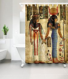 African Shower Curtain Ancient Egypt Pharaoh Pyramid Queen Watercolor Portrait Mural Mildew Proof Waterproof Home Decor