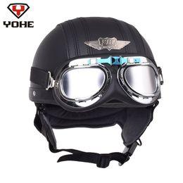 Pilot motorcycle helmets online shopping - YOHE Retro Motorcycle Helmet Cruiser Leather Pilot Aviator Scooter Vintage Half Helmets Casque Moto Casco Capacete with Goggles