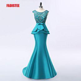 Ingrosso Nuovo arrivo elegante abito lungo abiti da sera prom party vestido de noiva applicazioni formali di cristallo lace-up stile lungo