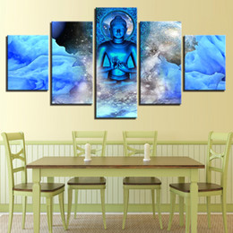 Art Canvas Prints Australia - Pictures Posters Wall Art Modular Frame 5 Panel Blue Figure Of Buddha Canvas Painting Living Room Home Decor HD Printed Modern