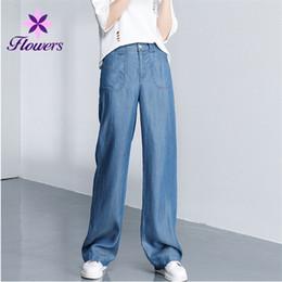 1e904e29ae05 2018 Verão Novo Coreano Calças Jeans Casuais Mulheres Plus Size Em Linha  Reta Ampla Perna Calças Retro Solto Calça Jeans De Cintura Alta LR260
