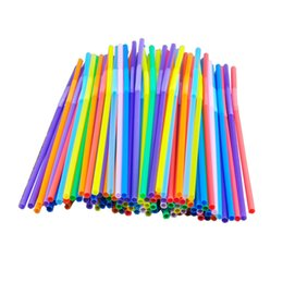 $enCountryForm.capitalKeyWord UK - 100pcs Bright Colorful Plastic Bendable Drinking Straws Disposable Beverage Straws Wedding Decor Mixed Colors Party Supplies
