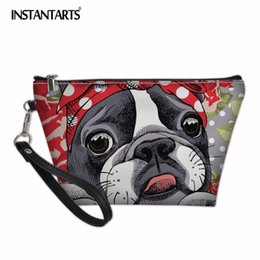 Animal Travel Pillows NZ - INSTANTARTS Animal Dog Pattern Cute Cosmetics Pouchs For Travel Bag Ladies Women Makeup Bags Leather Trapezoid Cosmetic Bags