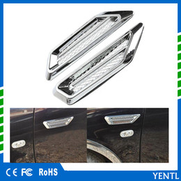 Car air flow fender stiCker online shopping - YENTL Plastic Chrome Car SUV Air Flow Fender Side Vent Decor Stickers Accessory gule ABS Plastic Chrome Plated Universal