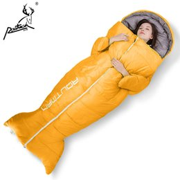 Discount fishing sleeping bags - Outdoor adult creative sleeping bag thick autumn and winter indoor warm ultra-light portable camping fish style sleeping