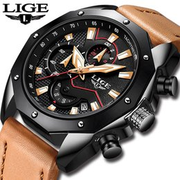 top luxury watches men Canada - LIGE Mens Watches Top Brand Luxury Men's Sports Watch Men Leather Waterproof Quartz Gold Watch Relogio Masculino