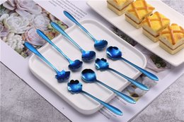 Cream for Cakes online shopping - 1Set Creative Flower Shape Spoon Stainless Steel Blue Stirring Spoon For Dessert Cake Ice Cream Spoon Kitchen Cafe Tool