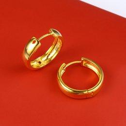 Brincos de Argola Liso Suave das mulheres 18 K Ouro Amarelo Cheio Minimalista Pequeno Círculo Rodada Huggies Brincos Presente do Dia das Mães em Promoção