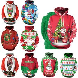 Christmas Hoodies Christmas Tree santa Clus Printed Long Sleeved Blouse Hooded Sweatshirt T-shirt casual Pullovers home clothing GGA1257 on Sale
