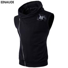 Wholesale oblique zipper hoodie for sale – custom Patchwork Fashion Men Hooded Sleeveless Oblique Zipper Mens Workout Fitness Hoodie Swaistcoat Sportwear Tank Top Man Vest Sweatshirts xl