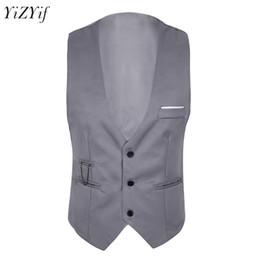 Mens Slim Fit Suit Vest Sleeveless Button Down Formal Business Dress Suit  Slim Fit Jacket Men Separate business Waistcoat 3cdf79e32ea2