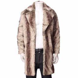 Wholesale cashmere overcoats men resale online - Plus Size Fluffy Fur Long Overcoat Men Cashmere Trench Coat Winter Thick Warm Faux Fur Jackets Homme Manteau