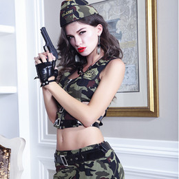 Discount soldier women costume - Full Set High Quality Women Soldier Clothing Sexy Topwear Side Hollow And Mini Skirt Cosplay Wear Soldier Camouflage Clo