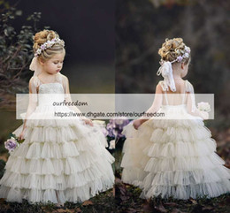 cupcake first birthday NZ - Lovely Spaghetti Strapless Flower Girls Dresses 2019 A Line Cupcake Tiered Skirts First Communion Dresses Girls Pageant Gown Custom Made
