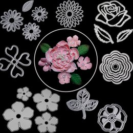 $enCountryForm.capitalKeyWord Canada - Rose Flower Leaves Metal Cutting Dies For Scrapbooking Die Cut DIY Paper Cards Craft Snijmal En Embossing Cutting Tools
